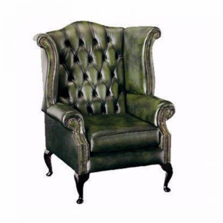 Queen Ann Leather Wingback Chair
