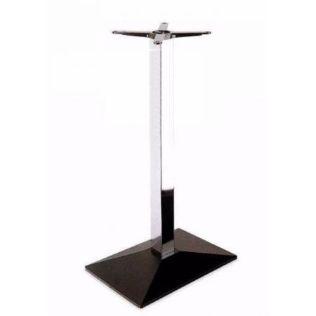 High Rectangular Pyramid Black Base Chrome Column Poseur