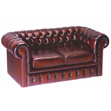 Chesterfield Leather 2 Seater Settee
