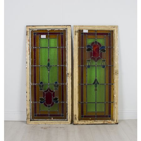 Pair of stain glass windows