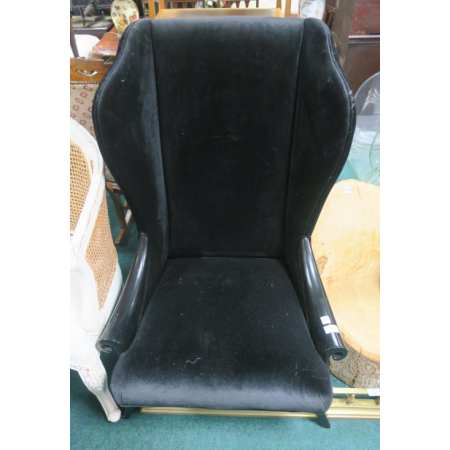 Black velvet wing back chair