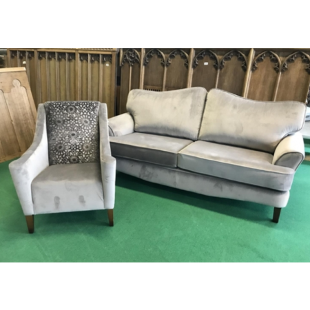 Recently manufactured grey upholstered settee and matching chair