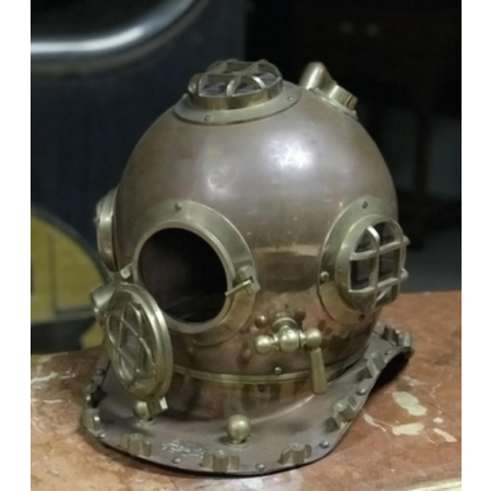 Copper and brass divers helmet
