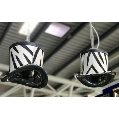 Pair of zebra hat pendant lights