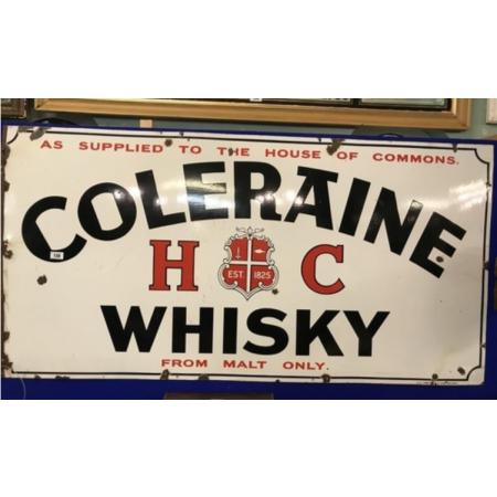 Extremely rare Coleraine Irish Whiskey enamel sign.