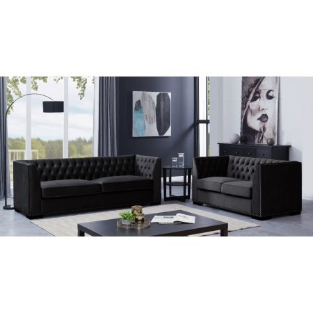 Chester 3+2 Seater Suite Black