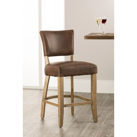 Bourton Bar Stool-Brown Leather
