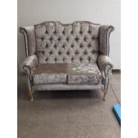 Crushed velvet 2 seater wing back sofa