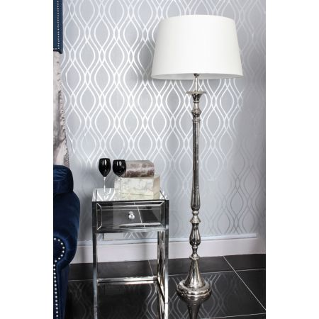 Nickel Nova Floor Lamp-Cream