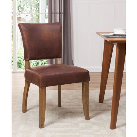 Bourton Dining Chair - Brown Leather
