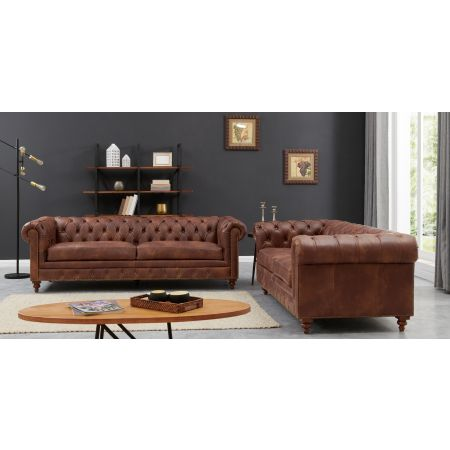 Chesterfield 3+2 Seater Suite Brown Leather