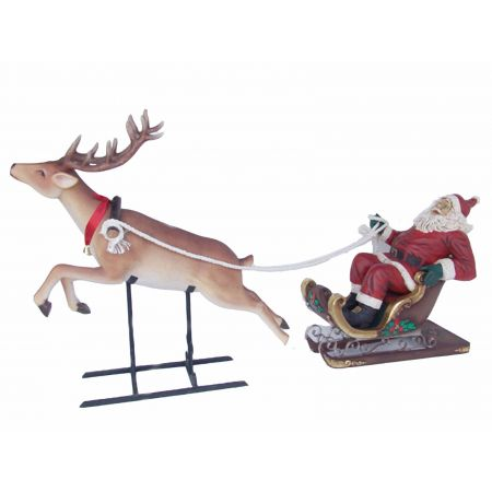 Santa on Sleigh & Reindeer