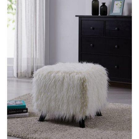 Heavy Shag Faux Sheepskin Cube Stool- White