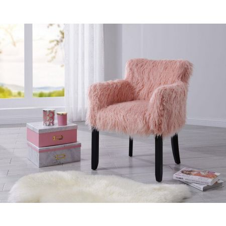 Heavy Shag Faux Sheepskin Tub Chair-Pink