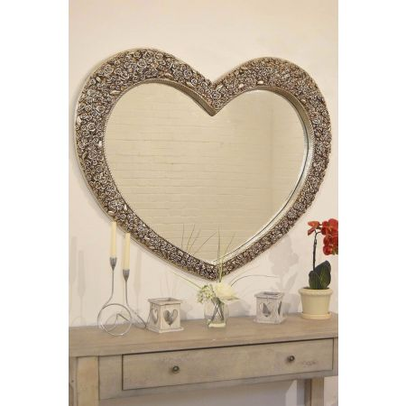 Silver Rose Heart Mirror