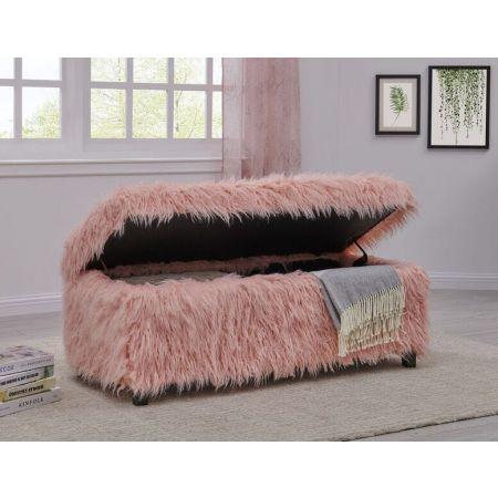 Heavy Shag Faux Sheepskin Ottoman-Pink