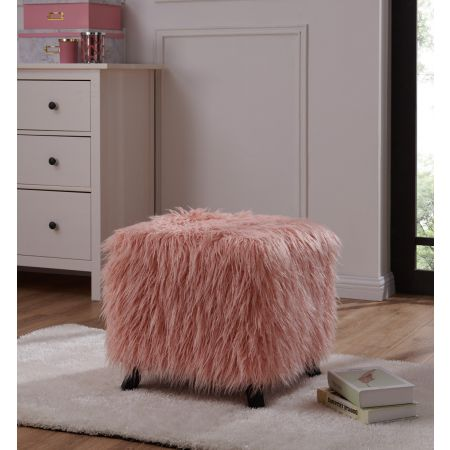 Heavy Shag Faux Sheepskin Cube Stool- Pink