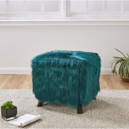 Heavy Shag Faux Sheepskin Cube Stool-Teal
