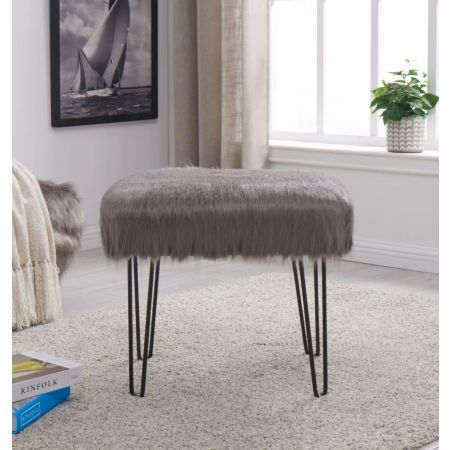 Faux Sheepskin Dressing Table Stool-Grey