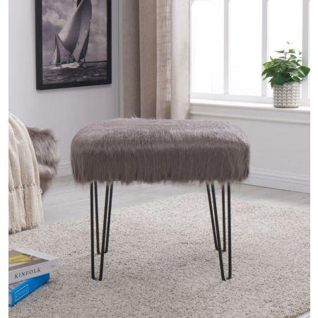 Faux Sheepskin Dressing Table Stool-Grey