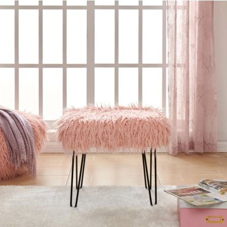Faux Sheepskin Dressing Table Stool-Pink