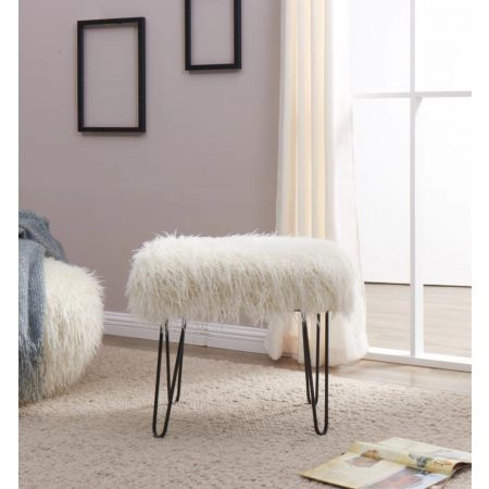 Faux Sheepskin Dressing Table Stool-White
