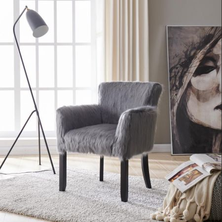 Heavy Shag Faux Sheepskin Tub Chair-Grey