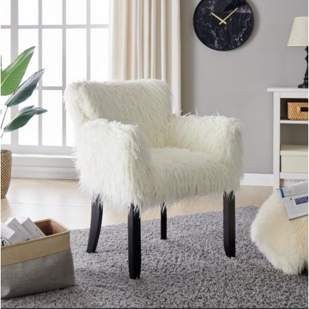 Heavy Shag Faux Sheepskin Tub Chair-White
