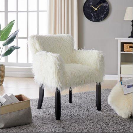 Heavy Shag Faux Sheepskin Tub Chair-White