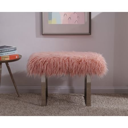 Heavy Shag Faux Sheepskin Bench-Pink