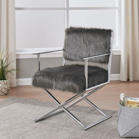 Faux Sheepskin Directors Chair-Grey