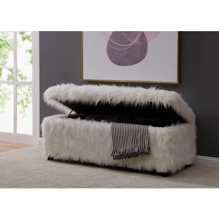 Heavy Shag Faux Sheepskin Ottoman-White