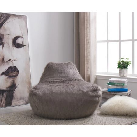 Faux Sheepskin Bean Bag-Grey
