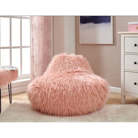 Faux Sheepskin Bean Bag-Pink