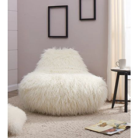 Faux Sheepskin Bean Bag-White