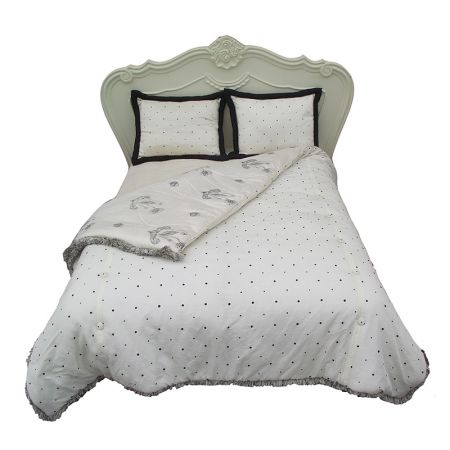 King Bedspread-Black & Ivory