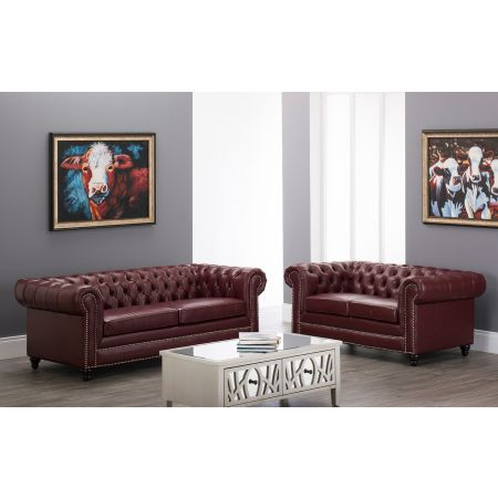 Faux Leather Chesterfield 3+2 Suite-Ox Blood Red