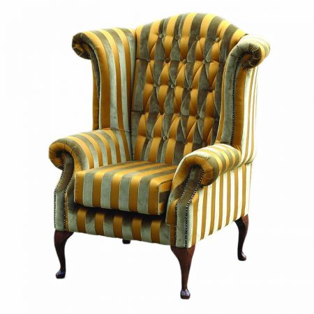 Queen Ann Fabric Wingback Chair
