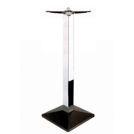 High Square Pyramid Black Base Chrome Column Poseur
