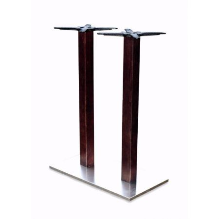 High Rectangular Double Pedestal Lama St/Steel Base Timber Column Poseur