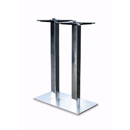High Rectangular Double Pedestal Lama All St/Steel Poseur