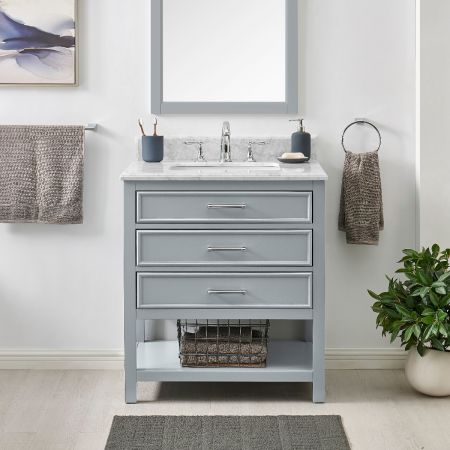 2/1 Single Vanity Unit/White Marble - Grey