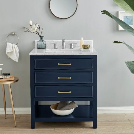 2/1 Single Vanity Unit/White Marble - Navy