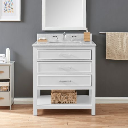 2/1 Single Vanity Unit/White Marble - White