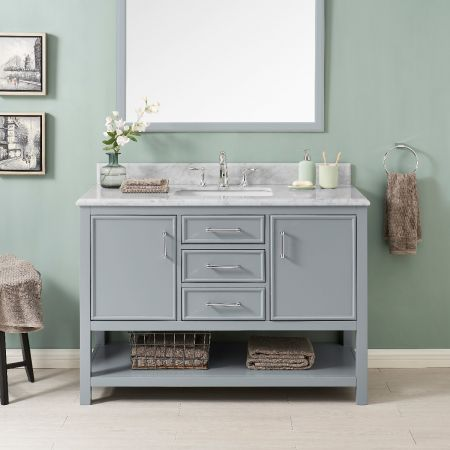 2/3 Double Vanity Unit/White Marble-Grey