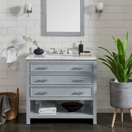 3 Drawer Single Vanity Unit/White Marble-Grey