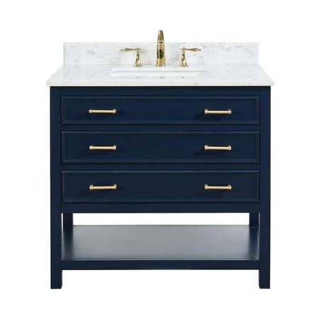 3 Drawer Single Vanity Unit/White Marble-Navy
