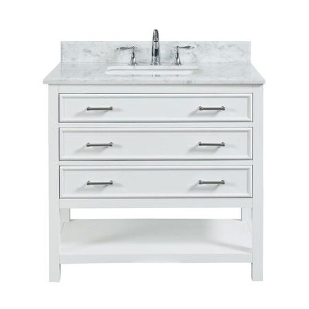 3 Drawer Single Vanity Unit/White Marble-White