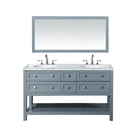 6 Drawer Double Vanity Unit/White Marble-Grey