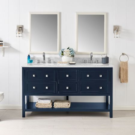 6 Drawer Double Vanity Unit/White Marble-Navy